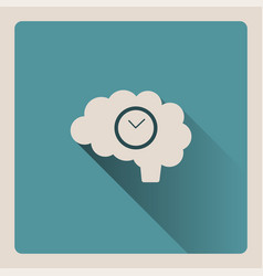 brain thinking about time on blue background with vector image