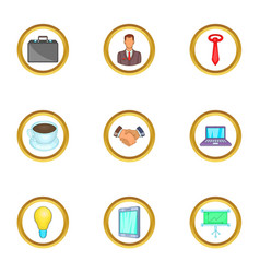 business work icons set cartoon style vector image