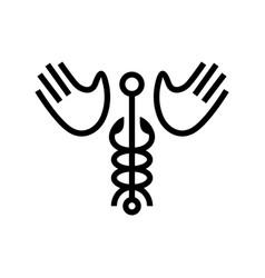 caduceus hand wing logo icon vector image
