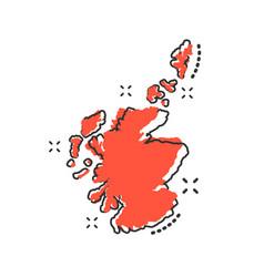 cartoon scotland map icon in comic style scotland vector image