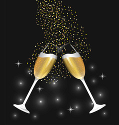 Champagne glass splashing to celebrate new year vector