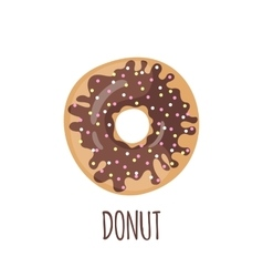 Chocolate donut on a white background vector