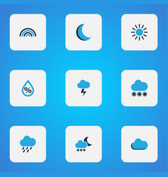 Climate icons colored set with snow drizzle moon vector