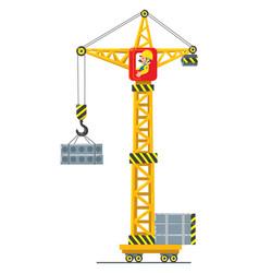 Construction crane lifts the load vector