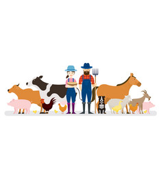 couple of farmers and dog with farm animals vector image