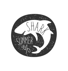 Curled Shark In Round Frame Summer Surf Club Black vector