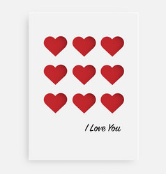 cut the red heart on the paper and a white vector image