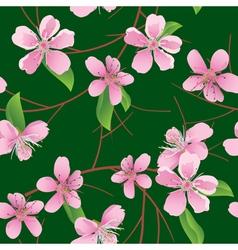 Dark green seamless pattern with peach flowers vector