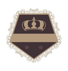 decorative vintage frame with crown icon vector image