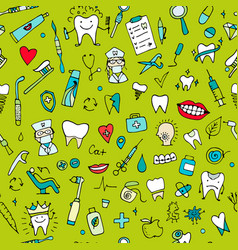 dental seamless pattern sketch for your design vector image