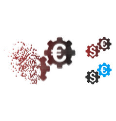 Destructed pixel halftone financial mechanics icon vector