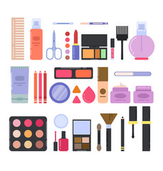Different makeup accessories for girls and women vector