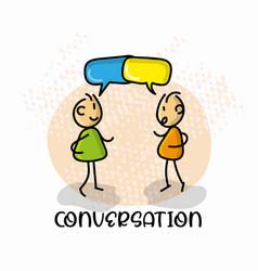Doodle cartoon figure conversation vector