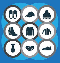 dress icons set with gumshoes jacket necktie and vector image
