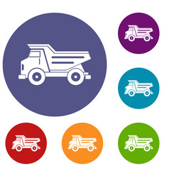 Dump truck icons set vector