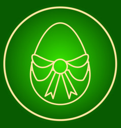 Egg with a bow in the neon circle easter vector