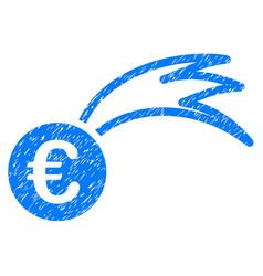 Euro falling meteor icon grunge watermark vector