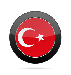 flag of turkey shiny black round button vector image
