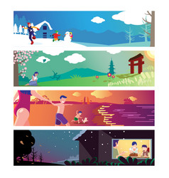 Four seasons theme vector