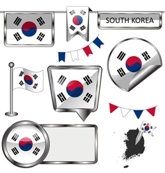 Glossy icons with South Korean flag vector image