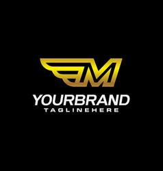 gold letter m winged elegant line modern logo vector image