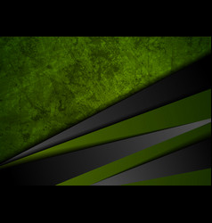 Grunge tech material green and black background vector