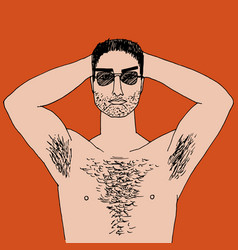 hairy man vector image