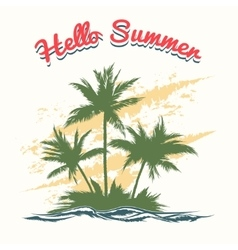 Handmade summer with palm trees vector image