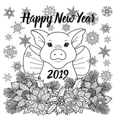 Happy new year 2019 greeting card with pig vector