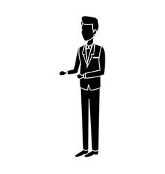 happy wedding groom in suit elegant standing vector image