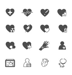 heart and health care icon set medical and rescue vector image
