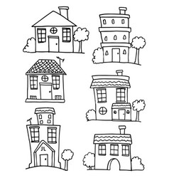 House and building set hand draw vector