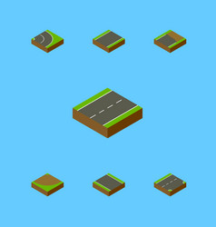 Isometric road set of turn driveway unfinished vector