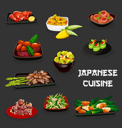 Japanese sushi roll meat veggies seafood dishes vector