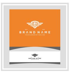 Letter u shield wing logo design concept vector