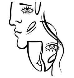 linear art man and woman vector image