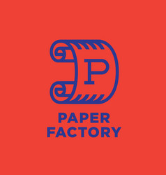 Logo paper factory roll of paper vector