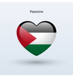 Love Palestine symbol Heart flag icon vector