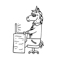 lovely hand-drawn unicorn-manager vector image