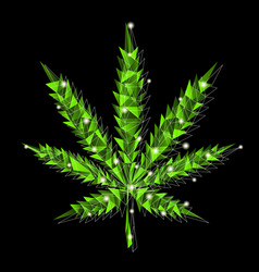 marijuana leaf in low-poly style vector image