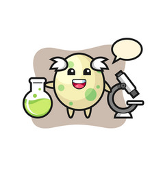 Mascot character spotted egg as a scientist vector