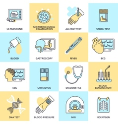 Medical tests icons flat line vector image