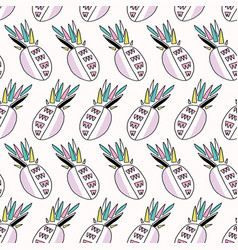 memphis tropical pineapple fruit pattern stripes vector image