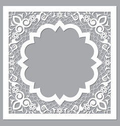 Moroccan carved style openwork arabic frame vector