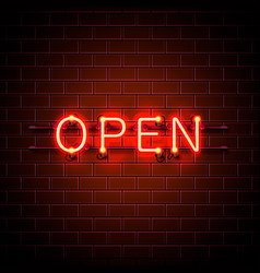 neon sign with text open entrance is available vector image