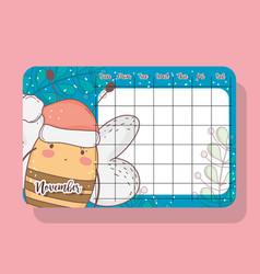 november calendar with bee cute animal vector image