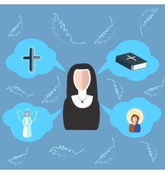 Nun cross bible angel icon clouds vector image