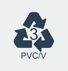 Plastic recycling symbol pvcv 3wrapping plastic vector