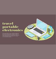 Portable electronics isometric banner vector