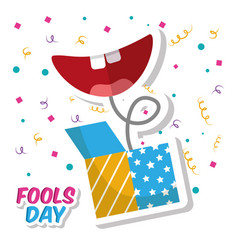 Prank box and smile mouth fools day confetti vector